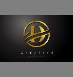 D golden letter logo design with circle swoosh vector