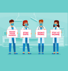 doctors holding banners with text stay safe vector image