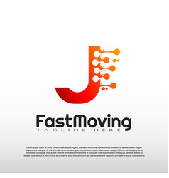 Fast moving logo with initial j letter concept vector