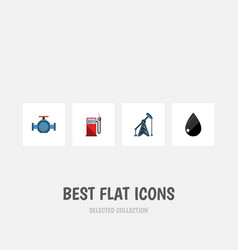 Flat icon oil set of droplet petrol flange and vector