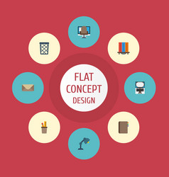 Flat icons pen holder contact armchair and other vector