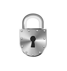 Glossy vintage metal lock on white vector