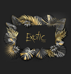 Gold palm leaves pattern black background vector