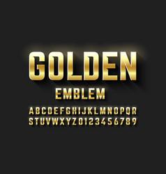 golden emblem style font metallic alphabet vector image