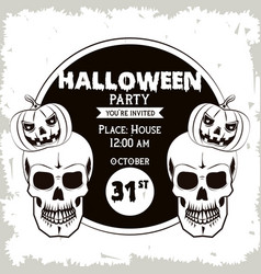 halloween party invitation card in black and white vector image