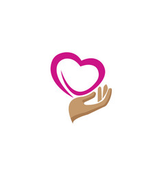 hand and heart caring human health design vector image