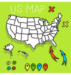 Hand drawn USA map vector