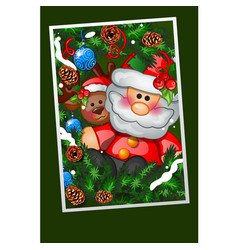 happy toy santa claus with fir branches decorated vector image