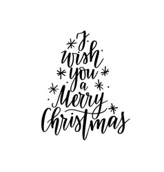 i wish you a merry christmas lettering vector image