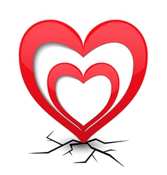 Icon with heart and cracks vector image