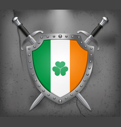 Ireland flag with shamrock the shield with vector