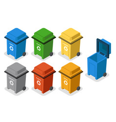 isometric garbage cans trash separation recycling vector image