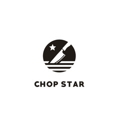 Kitchen chop knife chef restaurant star logo vector