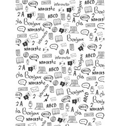 Language translator banner with hand-draw doodle vector