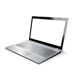 laptop isolated on white with empty screen vector image