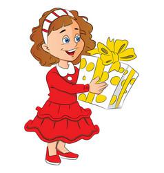 little girl holding giftbox vector image