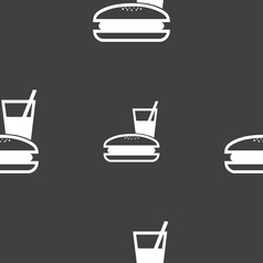 lunch box icon sign Seamless pattern on a gray vector image