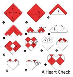 Make origami a heart check vector