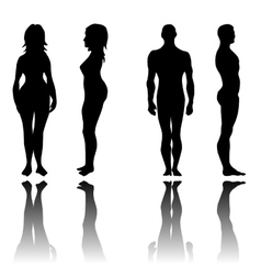 Man and woman in front and side view vector