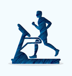 Man running on treadmill graphic vector