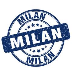 Milan blue grunge round vintage rubber stamp vector
