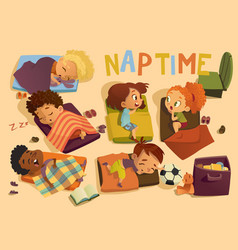 Nap time in the kindergarten group of multiracial vector