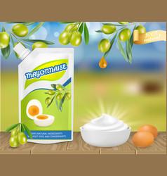 Natural olive mayonese ad realistic vector
