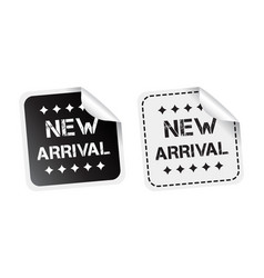 new arrival sticker black and white vector image