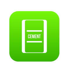 one bag of cement icon digital green vector image