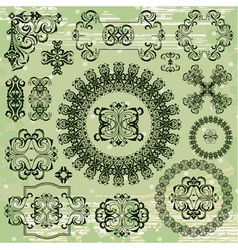 ornamental pattern on green background vector image