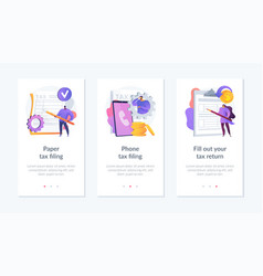 Paper tax filing app interface template vector