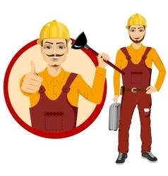 Plumber holding plunger in uniform vector