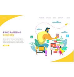 Programming courses website landing page vector