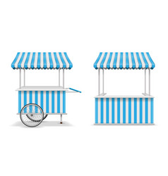 realistic set street food kiosk and cart vector image