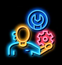 Repair service neon glow icon vector