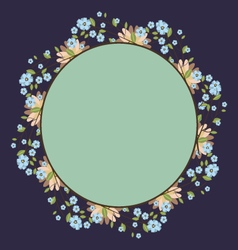 Round frame with cute floral bouquet template vector
