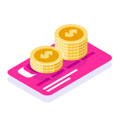 save money in bank 3d concept coins stack vector image