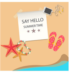 say hello summer time beach star fish background v vector image