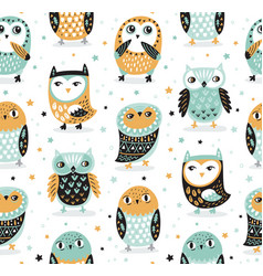 seamless pattern with cartoon owls nursery vector image
