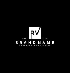 Set letter rv logo design vector