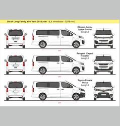 Set long family mini vans 2016 vector