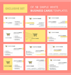 set of 12 cart creative busienss card template vector image