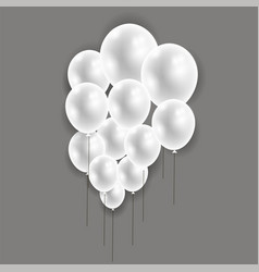 set of flying balloons bunch of helium rubber air vector image