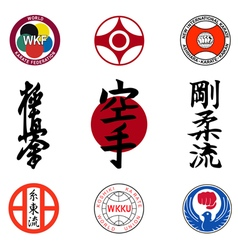 Set of images of styles of karate and hieroglyphs vector image