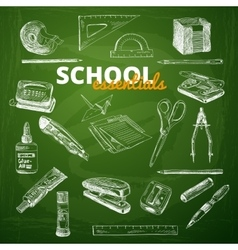 Set of school items on a chalkboard vector