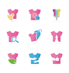 set of t-shirt logo combination garment and cloth vector image