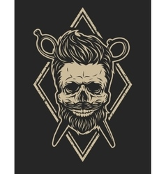 skull with a beard and a stylish haircut vector image