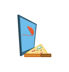 Smartphone with delivery food app with pizza vector