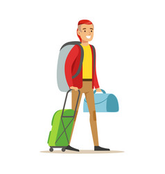 Smiling man traveler standing with backpack and vector