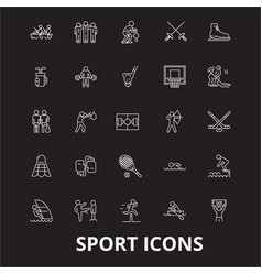sport editable line icons set on black vector image